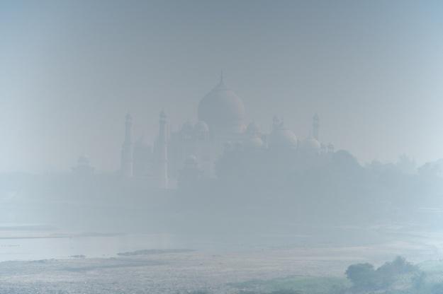 Taj Mahal from Agra Fort in blue haze